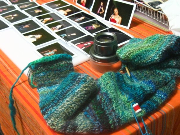 Knitting in between sets at a Lark photoshoot for the Crochet Chic book