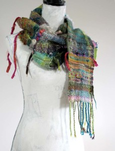 Sprouting | hand woven fiber art scarf | 2015